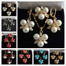 8mm South Sea Shell Pearl Round Beads Earrings Ring Pendant Necklace Set AAA+