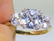 "9CT YELLOW GOLD & SILVER ""MEGHAN MARKLE"" REPLICA 3 STONE ENGAGEMENT RING size N"