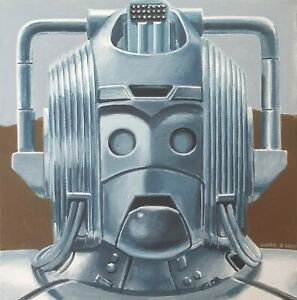 DR WHO DOCTOR WHO ORIGINAL ART - Cyberman 'The Five Doctors' Canvas Painting