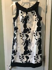 BCBG Black & White Floral Print Dress Size 10