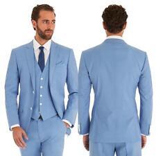 Mens Sky Blue 2 Piece Suit Groom Wedding Prom Party Blazer Waistcoat Trousers
