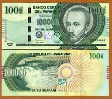 Paraguay, 100,000 (100000) Guaranies 2015 (2016) P-New Redesigned Serie I UNC