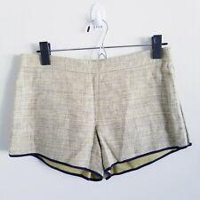 Club Monaco Green Linen Shorts Silk Trim Side Zippers Size 00