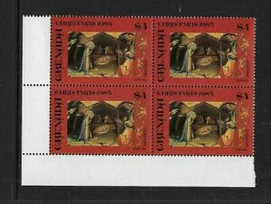 1985 Grenada - Christmas Issue - Corner Block - Mint and Never Hinged.