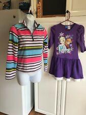 Girls Elsa and Anna Dress size 10/12 Purple/White & Old Navy Fleece Shirt 10/12