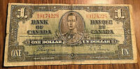 1937 CANADA 1 DOLLAR BANK NOTE - M/N - Coyne / Towers