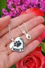 .925 Sterling Silver NECKLACE Paw Print I Love My Rescue Cat Kitty Lover Gift!
