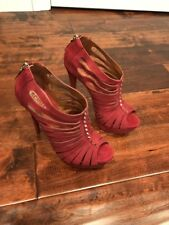 Schutz Red Suede Leather Studded Strappy Platform Heels, Size 8.5