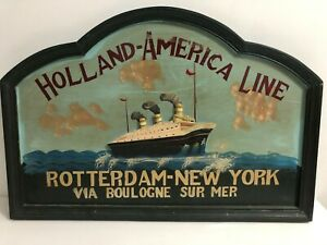 HOLLAND AMERICA LINE ROTTERDAM - NEW YORK HUGE WOODEN PAINT & RELIEV CRUISE SHIP