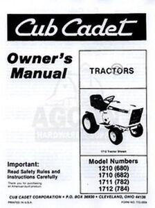CUB CADET 1210 1710 1710 1712 Owners Operators Manual