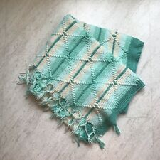 72 x 64 Vintage Hand Crochet Afghan Blanket Throw Cream and Teal Stripe Diamond