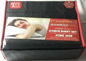 Infused Copper X Bamboo 2000 Series 6pc King Size Series Sheet Set Black