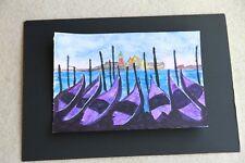 New Venice view across Gondolas watercolour 21cm x 30cm unmounted unframed