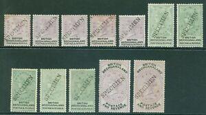 SG 10-21 Bechuanaland 1888. 1d-£5 overprinted specimen. Fresh mounted mint...