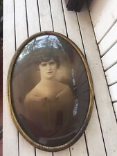 ANTIQUE OVAL BUBBLE GLASS METAL PICTURE Frame Vintage Picture Of A Woman 20 X 14