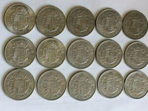 QE11 Half Crown Coins Date Run 1953-1967 very good condition (SD360)