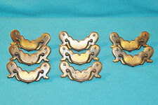 8 VINTAGE BRASS PLATE DRAWER PULLS w/SCREWS