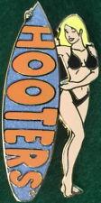 HOOTERS RESTAURANT Sexy Hot BLOND Waitress BLACK Bikini Girl BLUE Surfboard PIN
