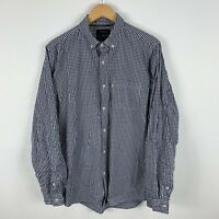 The Academy Brand Mens Button Up Shirt Size Large Blue White Check Long Sleeve