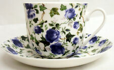 Ivy Rose Blue Large Cup & Saucer Bone China Blue Roses Breakfast Set Decorate UK