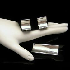 Mexico Sterling Eagle Vintage Brooch Pin Earrings Mid Century Modernist Set