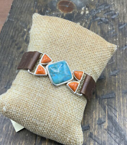 Barse Fiesta Bracelet- Turquoise & Sponge Coral- Leather- Sterling  Silver- NWT