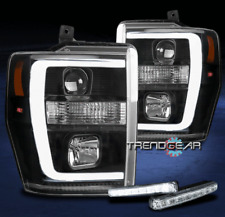FOR 2008-2010 FORD SUPER DUTY LED TUBE BLACK PROJECTOR HEADLIGHTS LAMP W/DRL KIT