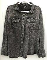 Rock & Republic Women's 1X Gray Long Sleeve Button Front Top Shirt Cut Out Back