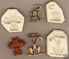 Lot of 3 Cool Cats, Polymer Clay Push Molds Fun Crafts