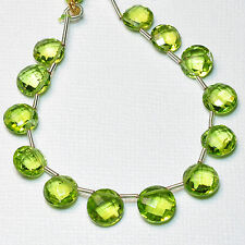 Rare Arizona Peridot Faceted Coin Briolette Beads 5.5 inch strand