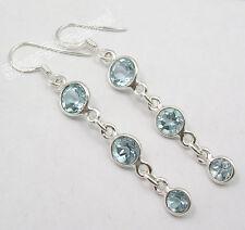 .925 Solid Silver Rare CUT BLUE TOPAZ 3 GEM TRENDY Earrings 5.5 CM 3.1 Grams NEW