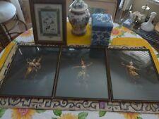 3 Beautiful Artist Signed Siam Dancer Paintings