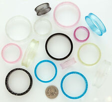 "BIG Gauge 1 3/8"" Hollow Tunnel Ear Plugs 1 PAIR 36MM MB Glitter Clear"