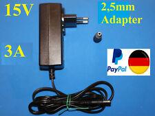 Schaltnetzteil 15V 3A, 2,1mm,  2,5mm Adapter Hohlstecker Netzgerät Marke Teufel