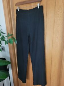Noa Noa Size Medium Black Woven Trousers Wool Blend Wide Leg UK 12