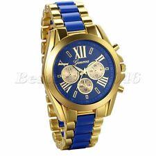 Luxury Stainless Steel Gold Tone Blue Strap Mens Quartz Analog Wrist Watch Gifts