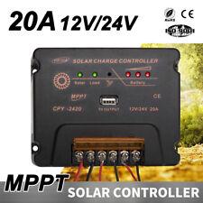 MPPT Solar Charge Controller Solar Panel Battery Regulator 12-24V 20A W/USB