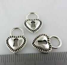 24pcs Tibetan Silver Heart-shaped Lock Charms Crafts Pendants 12x17mm