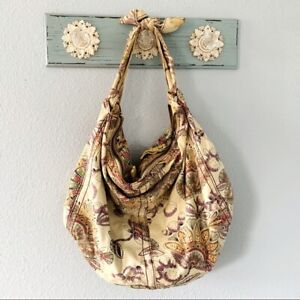 Lucky Brand Large Canvas Paisley and Floral Pattern Shoulder Bag Purse