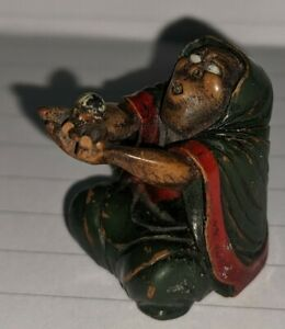 Meiji Netsuke fine carved & painted mixed material blind man holding a ball