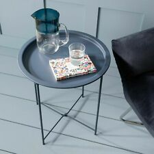 NEW Round Tray Table Folding Side Contemporary End Metal Detachable