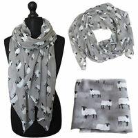 Women Sheep Print Scarf Fashion Farm Animal Lady Wrap Neck Soft Shawl Stole Q7W8