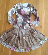 INDYGO ARTWEAR Hand Painted Copper Holiday Twirl Skirt Set Outfit~NWT~Sz 6x~$108