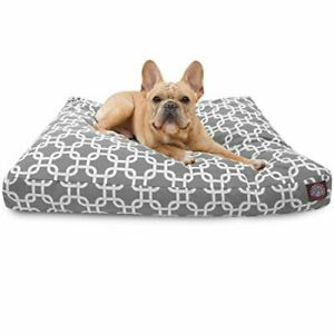 Gray Links Small Rectangle Indoor Outdoor Pet Dog Bed With Removable Washable...