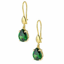 Ohrringe Gold 585 Gelbgold 14K Synt. Smaragd Damen Ohrschmuck Zirkonia Ohrhänger