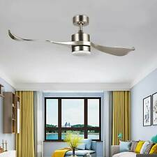 52-Inch Moden Ceiling Fan with Remote Low Profile 2-Blade Abs Led Light Silver