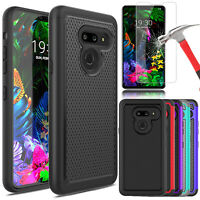 For LG G8 ThinQ Case Shockproof Armor Hard Cover+Tempered Glass Screen Protector
