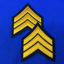"Police Sergeant Chevron Patches 3.5"" Black W/Gold Set of 2 FREE SHIPPING P17-5"