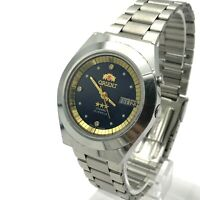 Japan Men's Watch ORIENT Day Arabic English Crystal Automatic Blue Golden Date