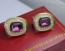 Vintage Christian Dior Clip On Earrings Gold Plated Purple Swarovski Crystal